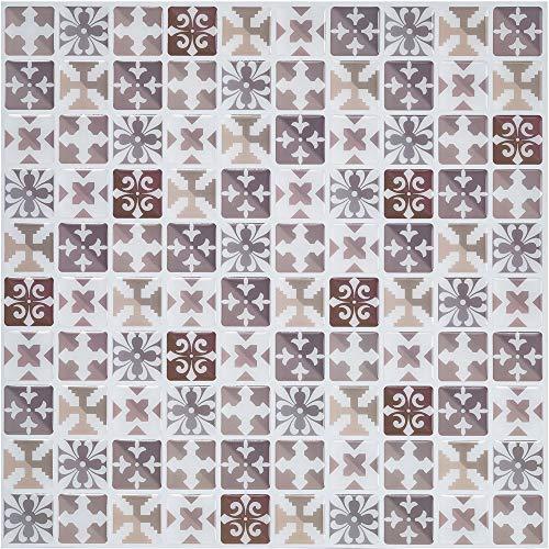 Ecoart 6 Piezas Decorativos Adhesivos para Azulejos Pegatina de Pared, Azulejos de Gel, Diseño de Mosaico con Icono mediterráneo Marron, Efecto 3D, Cenefa Autoadhesivo, para Baño y Cocina