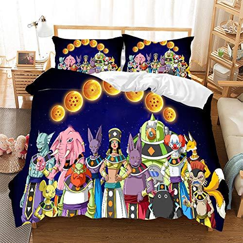 HKYH Dragon Ball-Juego de cama infantil con diseño de bola de dragón de impresión 3D, funda de edredón, diseño de anime, para niños y niñas (A,135 x 200 cm)