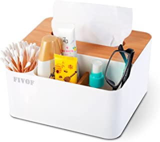FIVOF Multifunction PP Bamboo Tissue Box Cover Pen Pencil Remote Control Holder, Desk Storage Box Container for Home and O...