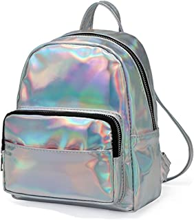 Tviney Holographic Laser Leather Backpack for Girls Pink Silver Mini School Backpack for Women