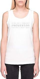 Comprensión Recursividad Blanco Camiseta de Tank Mujer Manga Corta White Tank T-Shirt Women's