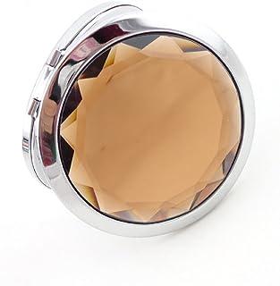المرايا القابلة للطي من MELADYMini المحمولة ذات الوجهين الكريستالي المعدنية (القهوة)