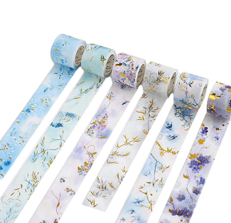 Gold Foil Flower Floral Blue Leaf Washi Tape Set- 3 Rolls Randomly - Decorative DIY Japanese Masking Scrapbook Notebook Sticky Planner Washi Tape Set