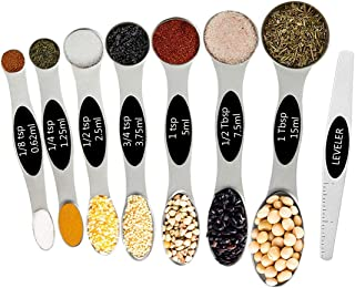 DILISS Magnetic Measuring Spoons Set, Dual Sided, Stainless Steel, Fits in Spice Jars, Set of 8 for Measuring Dry and Liquid Ingredients