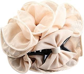 Polytree Women's Chiffon Rose Flower Bow Hair Clip (Beige)