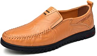 HTAO Casual Leather Slip On Driving Sneakers for Men