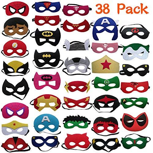 DREAMWIN 38 Piezas Máscaras de Superhéroe, Máscaras de Cosplay de Superhéroe, Accesorio...