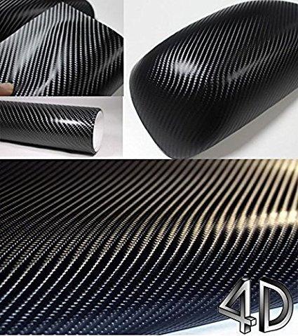 Kunfine Autocollant noir tendance pour voitures en fibre de carbone et vinyle 4D sans bulles d'air et résistant à l'eau 200 cm x 50 cm
