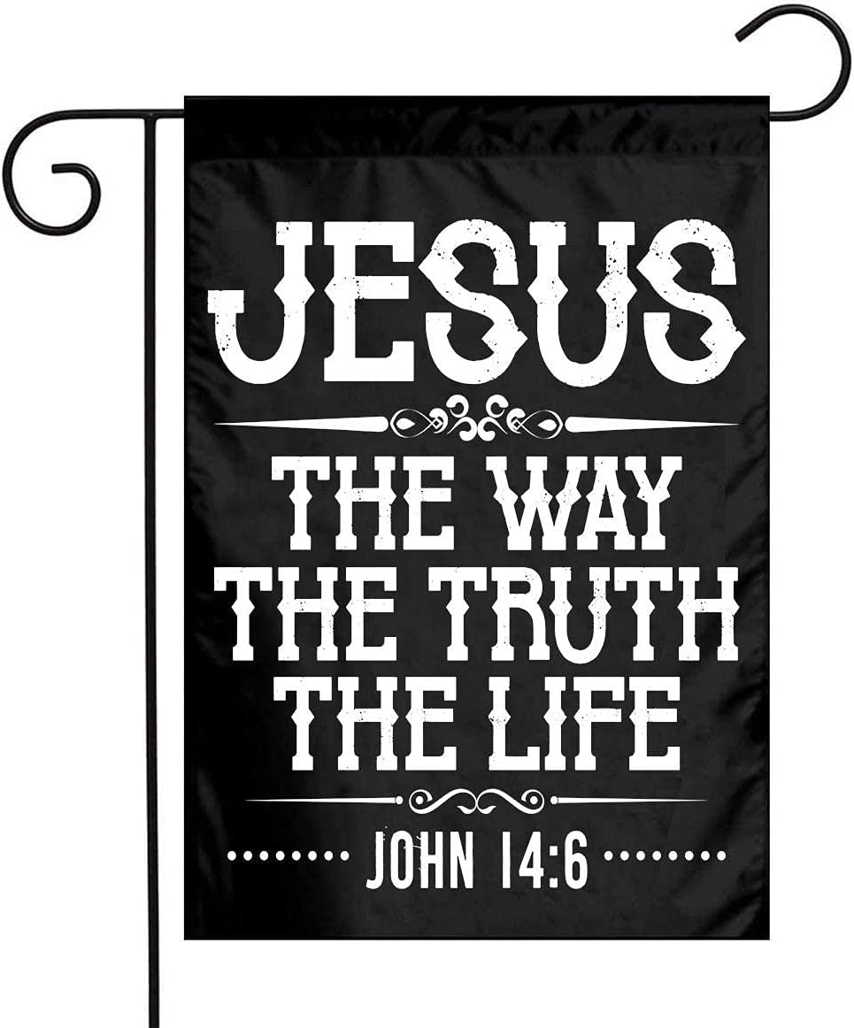 Jesus The Way Truth Life John 14-6 Christian Bible Verse Double Sided Flags for Yard Garden Outdoor Decoration 12x18 inch.