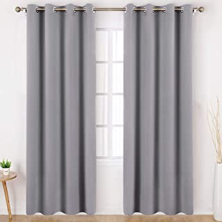HOMEIDEAS Blackout Curtains Wide 52 X 95 inches Long Set of 2 Panels Light Grey/Gray Room Darkening Curtains/Drapes, Thermal Insulated Grommet Window Curtains for Bedroom & Living Room