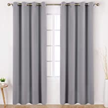 HOMEIDEAS Blackout Curtains Wide 52 X 84 inches Long Set of 2 Panels Light Grey/Gray Room Darkening Curtains/Drapes, Thermal Insulated Grommet Window Curtains for Bedroom & Living Room