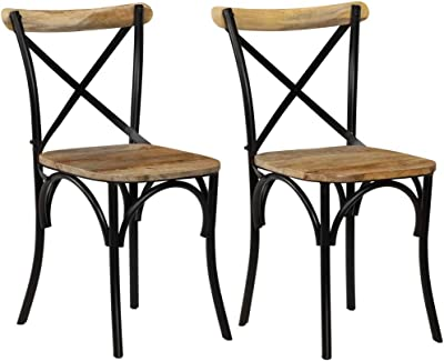 Tidyard 2Pcs Cross Chairs Dining Chairs Solid Mango Wood Chairs Home Kitchen Living Room Furniture - 51x52x84 cm Black