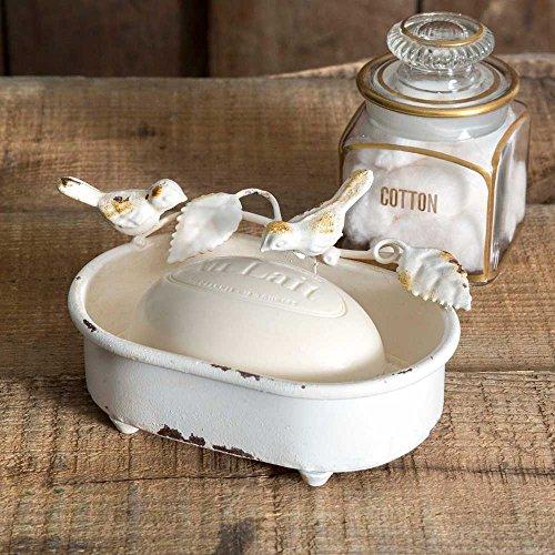 White Distressed Bird Soap Dish
