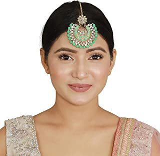 MUCH-MORE Indian Bollywood Meena Work with Beads Maang Tikka Hair Accessories for Girls and Women Traditional Partywear Je...
