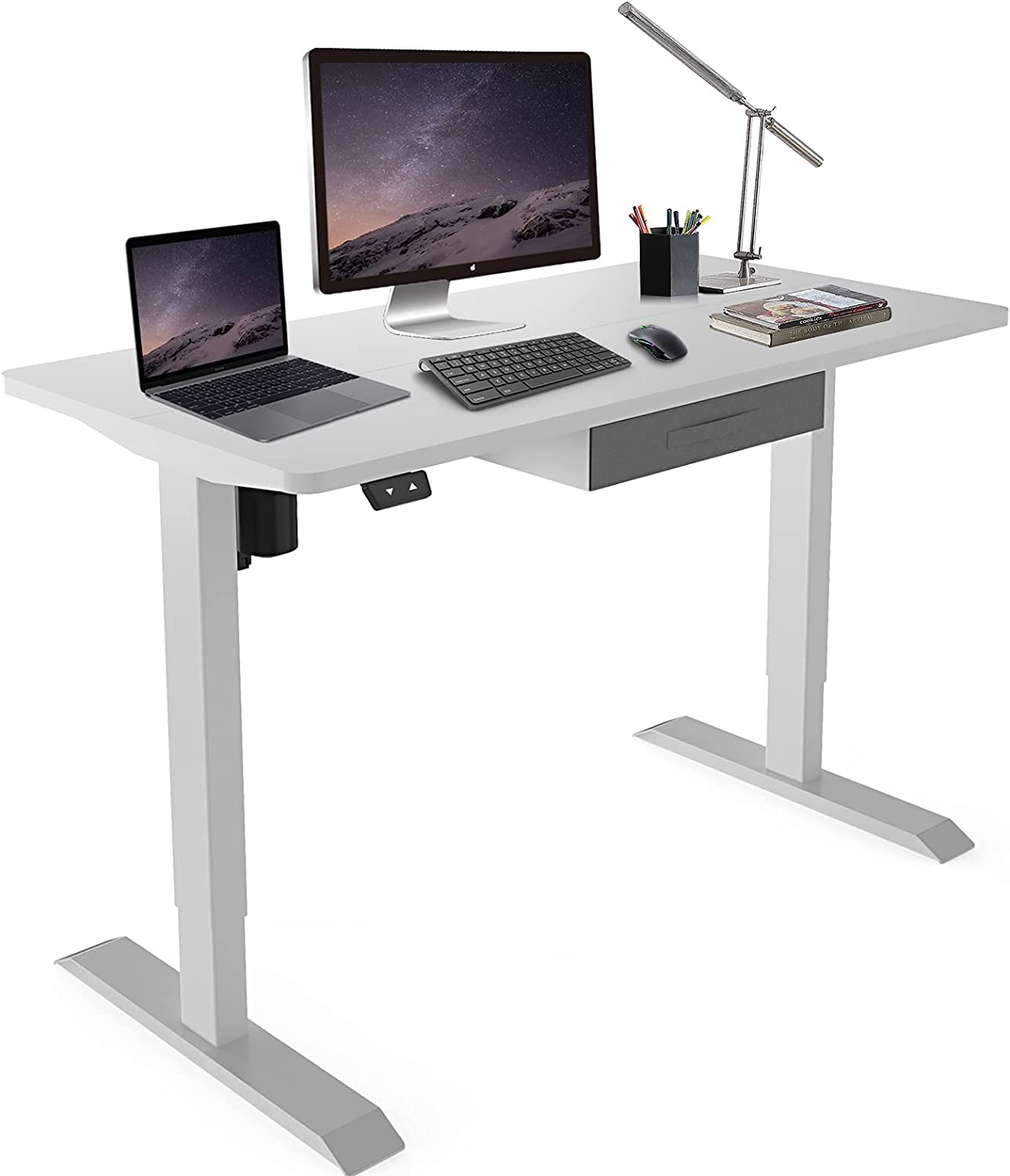 Height Adjustable Electric Standing Save money Brand new Desk 48 Inch x Up 24 Stand