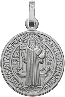 925 Sterling Silver Saint Benedict Charm Pendant Made in Italy, 20mm Diameter