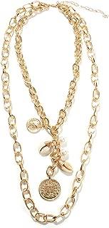 Fascigirl Creative Shell Pendant Necklace Decor Chain Necklace Doublelayer Charm Necklace