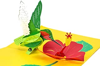 PopLife Hummingbird and Flower 3D Pop Up Mother's Day Card - Anniversary Pop Up for Mom, Happy Birthday - Cute Gift for Her - Folds Flat - for Sister, for Daughter, for Wife, for Grandma, for Mom