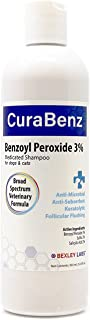 Curaseb Benzoyl Peroxide Dog Shampoo – Treats Mange, Demodex, Dandruff, Seborrhea, Pyoderma, Mites & Acne – Broad Spectrum Veterinary Formula, 12oz