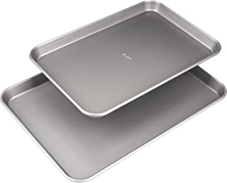 """Goodful Non-Stick Cookie Sheet Baking Pan, 2 Pack, Made Without PFOA or PTFE, Dishwasher Safe, 17"""" x 12"""" and 15"""" x 10"""", Gray"""