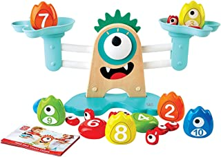 "Hape E0511 Monster Math Scale | 22-Piece Wooden Counting, Balancing, Measuring Weight Toy Playset For Preschoolers,""L: 15,..."