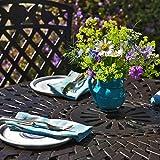 Lazy Susan - MIA 90 cm Runder Gartentisch mit 2 Stühlen - Gartenmöbel Set aus Metall, Antik Bronze (Kate Stühle)