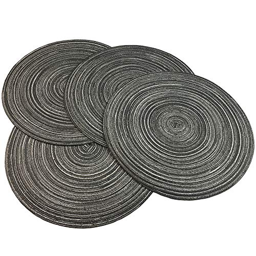 WAZAIGUR Red-A, Placemats, Round Placemats for Dining Table Set of 4 Woven Heat Resistant Non-Slip Kitchen Table Mats Diameter 14 Inch(Gray with Silver Silk)