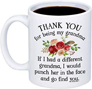 MyCozyCups Funny Gifts For Grandma - If I Had A Different GRANDMA Would Punch Her In The Face And Go Find You Coffee Mug - Sarcastic 11oz Cup For Your Grandmother, Nana, Mimi, Birthday, Christmas