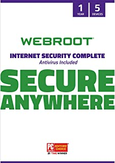 Webroot Internet Security Complete with Antivirus Protection Software | 5 Device | 1 Year Subscription | PC/Mac CD with Keycard