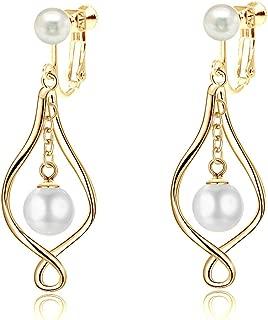 Clip on Earrings Sterling Silver Pearl Dangle Earrings Infinity Love Celtic Knot Earrings for Women Girls