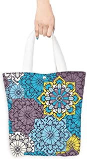 Canvas Tote Bag Seamless pattern Vintage decorative elements Hand drawn background Islam Arabic Indian ottoman motifs Perfect for printing on fabric or paper (W15.75 x L17.71 Inch)