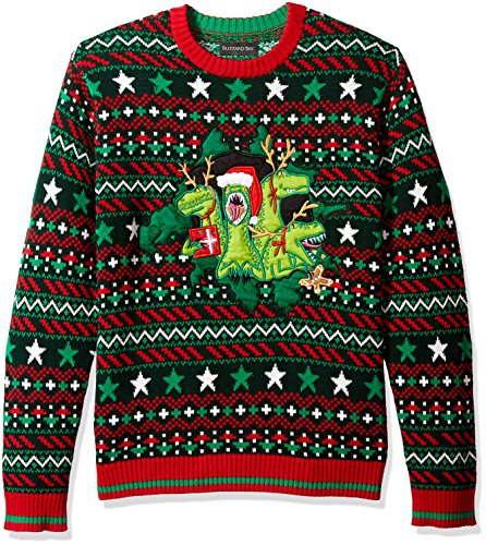 Blizzard Bay Men's Ugly Christmas Sweater Dinosaur, Green/Red, Large