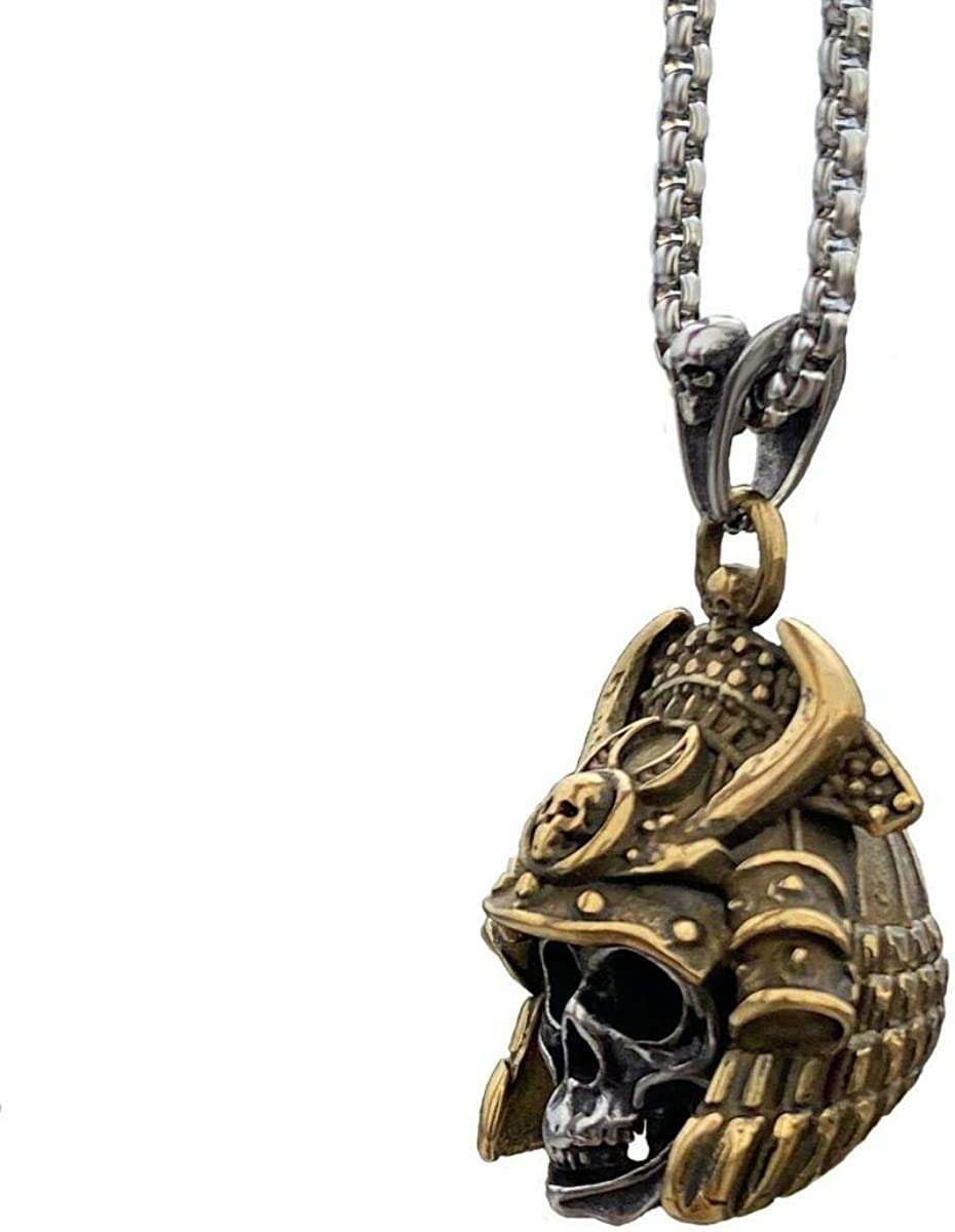 W&W Mens Cool Japanese Samurai Gold Skull Pendant Necklace Stainless Steel id:L10614