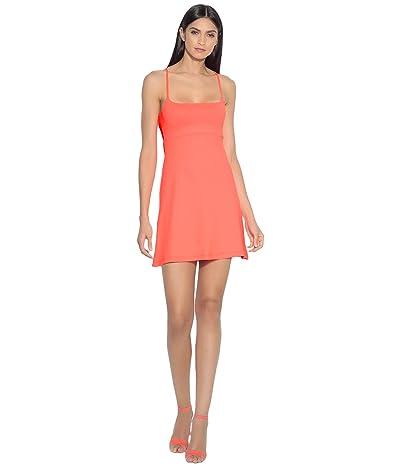 Susana Monaco Empire Waist Racer Cutout Dress (Fiery Coral) Women