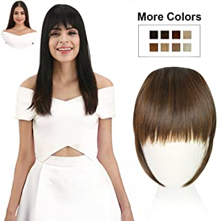 REECHO Fashion Full Length Synthetic 1 Piece Layered Clip in Hair Bangs Fringe Hairpieces Hair Extensions Color - Medium Warm Brown