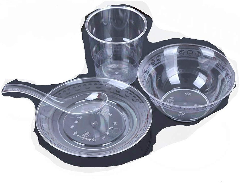 XC Vaisselle en Cristal Assiette de Vaisselle Transparente cuillère cuillère Quatre ou Cinq Ensembles de Restauration Rapide à emporter