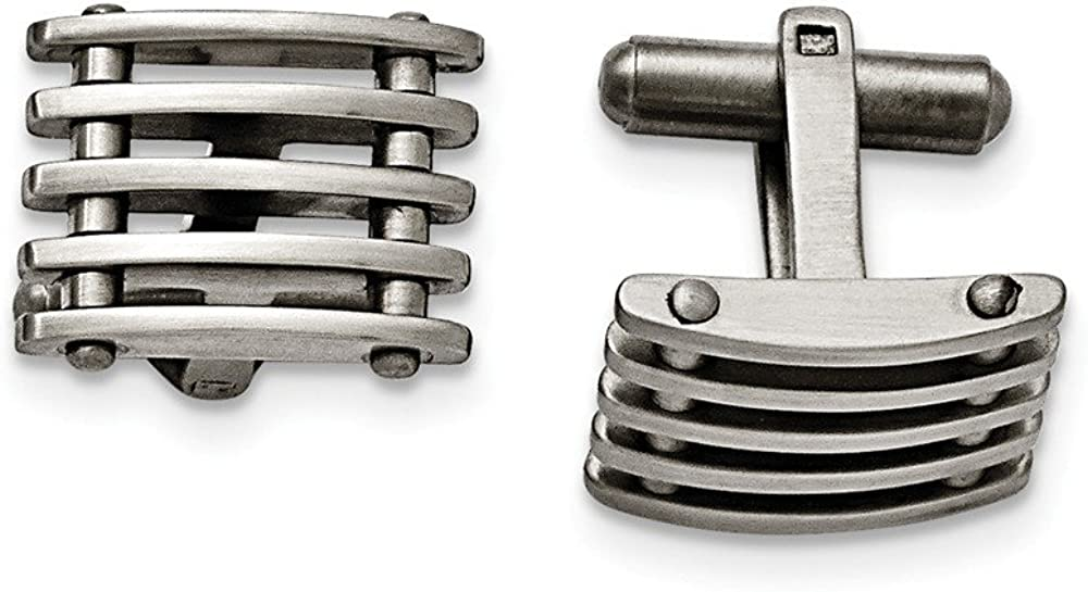 Black Bow Jewelry Men's Stainless Steel Grid Cuff Links, 13 x 19mm