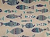 Fisch Marine Stoff/Leinen Optik Material Vorhang Polster