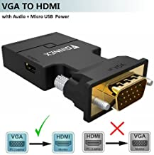 VGA to HDMI Adapter Converter with Audio,(PC VGA Source Output to TV/Monitor with HDMI Connector),FOINNEX Active Male VGA in Female HDMI 1080p Video Dongle adaptador for Computer,Laptop,Projector