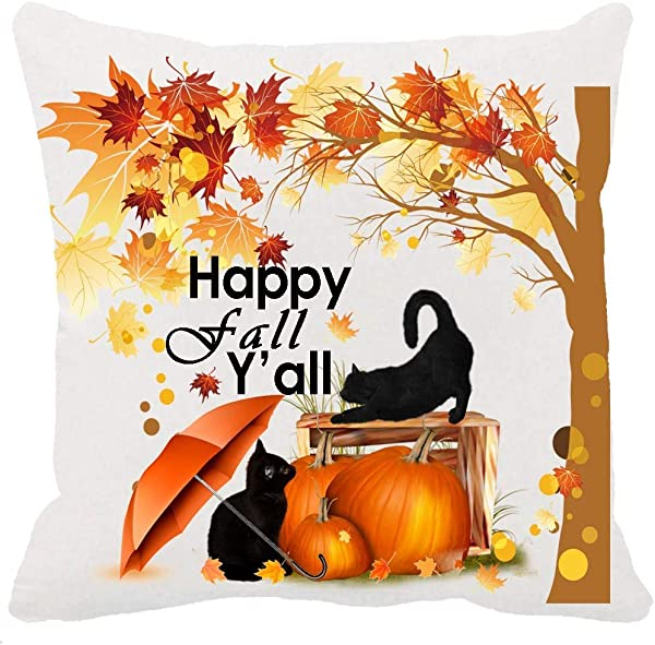 Two Sided Printing Autumn Umbrella Black Cat Maple Leaves Pumpkin Happy Fall Y All Thanksgiving Halloween New Home Decorative Cotton Soft Polyester Throw Cushion Cover Pillow Case Square 18 Inches