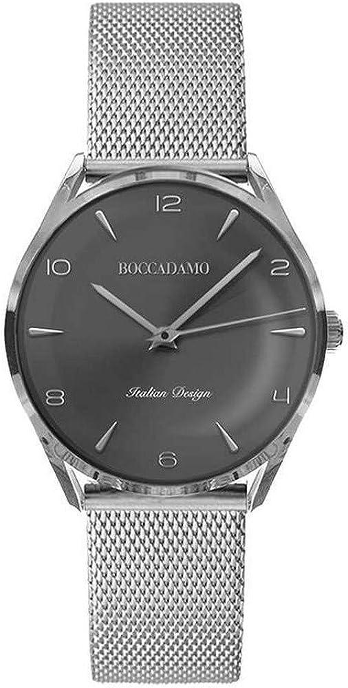 Boccadamo, orologio da uomo vintage con quadrante antracite metallizzato e cinturino silver in maglia mesh WA001
