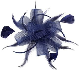 dressfan Headband Fascinator Cocktail Hat Feather Mesh Flower Hair Clip Hat Banquet Wedding Barrettes