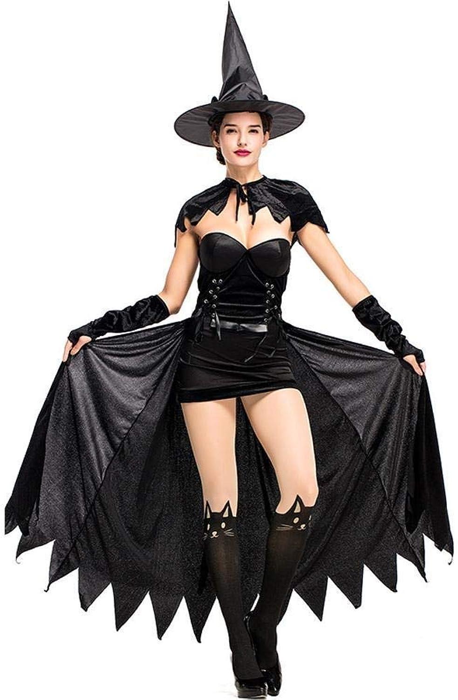 Fashion-Cos1 Halloween Hexe Kostüm Für Frauen Erwachsene Rolle Spielen Schwarze Hexe Nette Katze Cosplay Kostüm Kleid Und Hut
