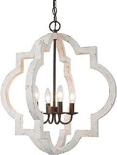 Vintage Bois Couloir Lustres,4 Lumière Shabby Chic Style Plafonniers E14 Élégant Suspension Luminaire Pour Décoration Salo...