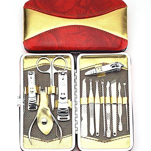 Belle 13 in 1 Acier inoxydable ongles Soins personnels Manucure & Pédicure Set, Kit Voyage & Toilettage pour soin des ongles et des pieds avec un Wallet / Case