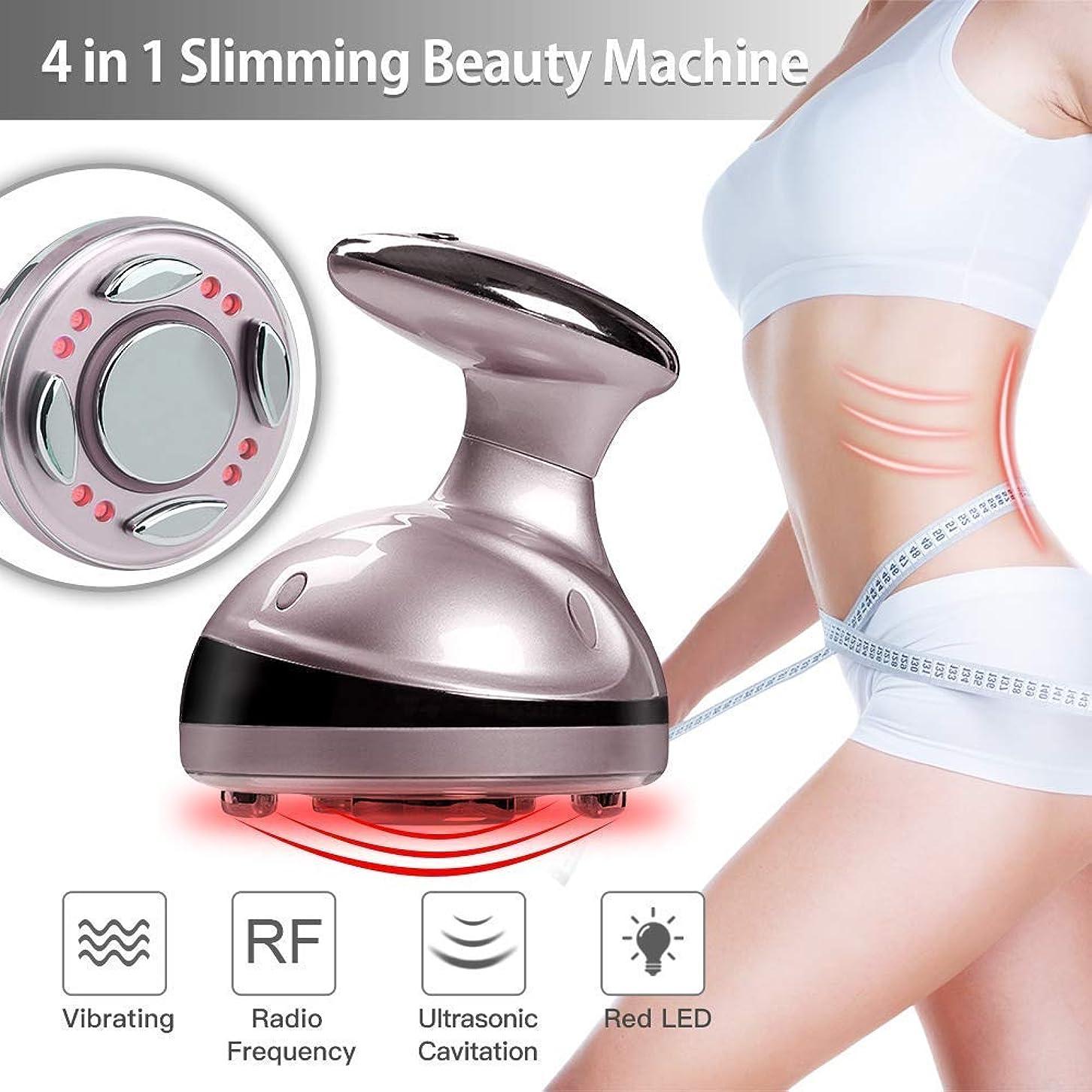 眩惑する振り向くモナリザ4 in 1 美容マシン/RF無線周波数/熱振動マッサージ,スキンケア脂肪除去体スリム減量 女性男性用