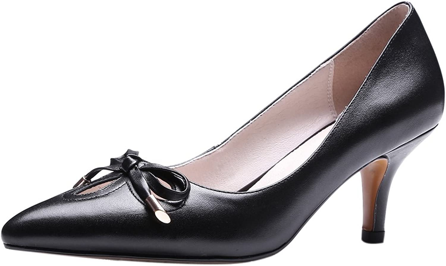 RizaBina Ladies Sweet Bowknot Kitten Heel Pumps Slip on Leather shoes