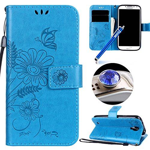 Etsue Kompatibel mit Samsung Galaxy S4 Handyhülle Schutzhülle Handytasche Leder Hülle Flip Tasche Case Wallet Cover Schmetterling Blume Luxus Vintage Ledertasche Klapphülle Brieftasche Hülle,Blau