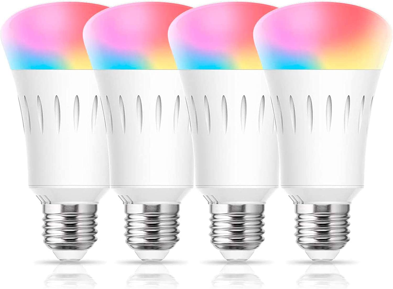 LOHAS Smart LED Bulb, Color Changing Light Bulbs Dimmable, A19 WiFi Smart  Lights 60W Equivalent, Blue RGBCW 2700-6000K E26 Edison Bulbs Work with  Alexa, Google Home, No Hub Required, UL Listed, 4