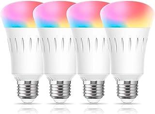 لامپ لامپ LED WiFi Smart WiFi ، لامپ هوشمند چند رنگ A19 ، لامپ معادل 60W Dimmable 60M ، کنترل صدای لامپ روز روشنایی توسط نورپردازی خانگی تلفن های هوشمند ، سازگار با الکسا ، (UL لیست شده) بسته 4